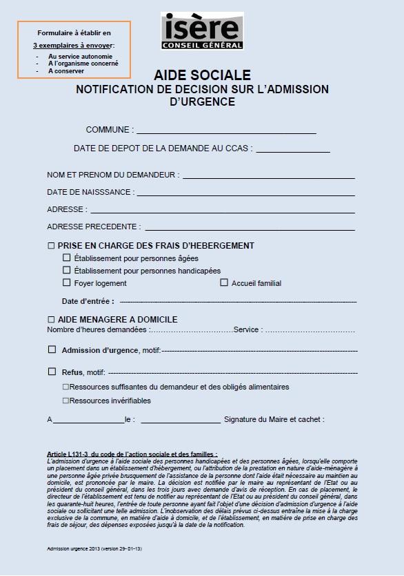Admission Foyer Logement : Formulaire téléchargeable département de l isère