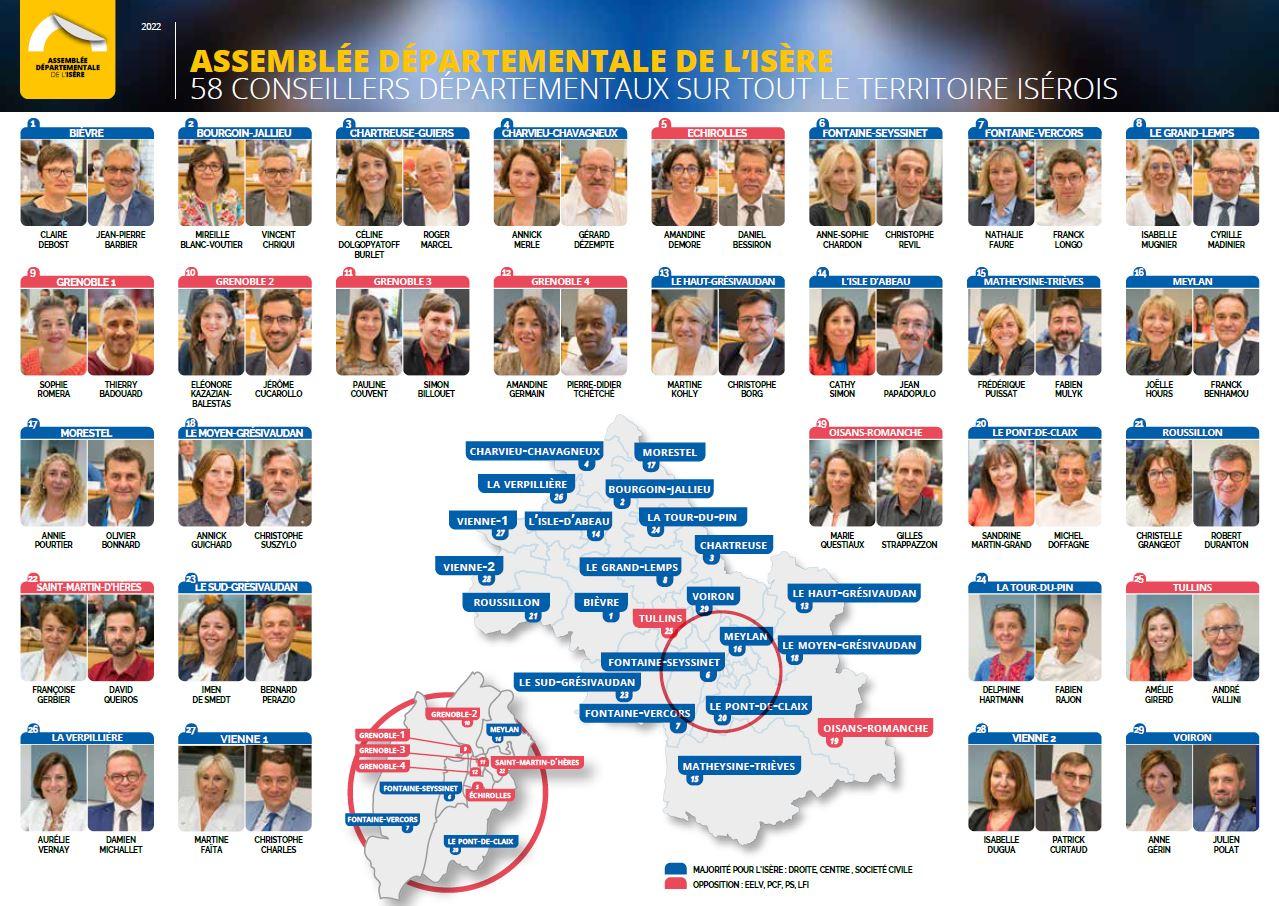 Conseillers départementaux de l'Isère