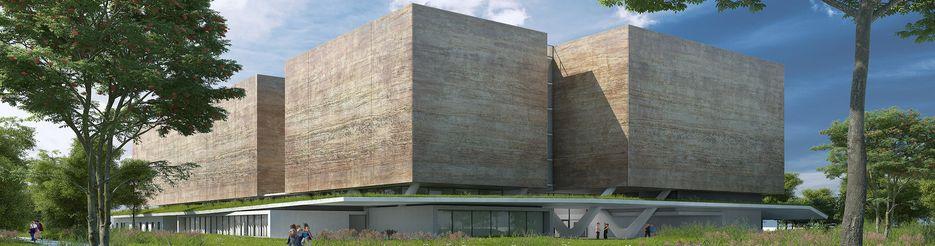 Vue 3D du projet de nouveau bâtiment des Archives départementales de l'Isère