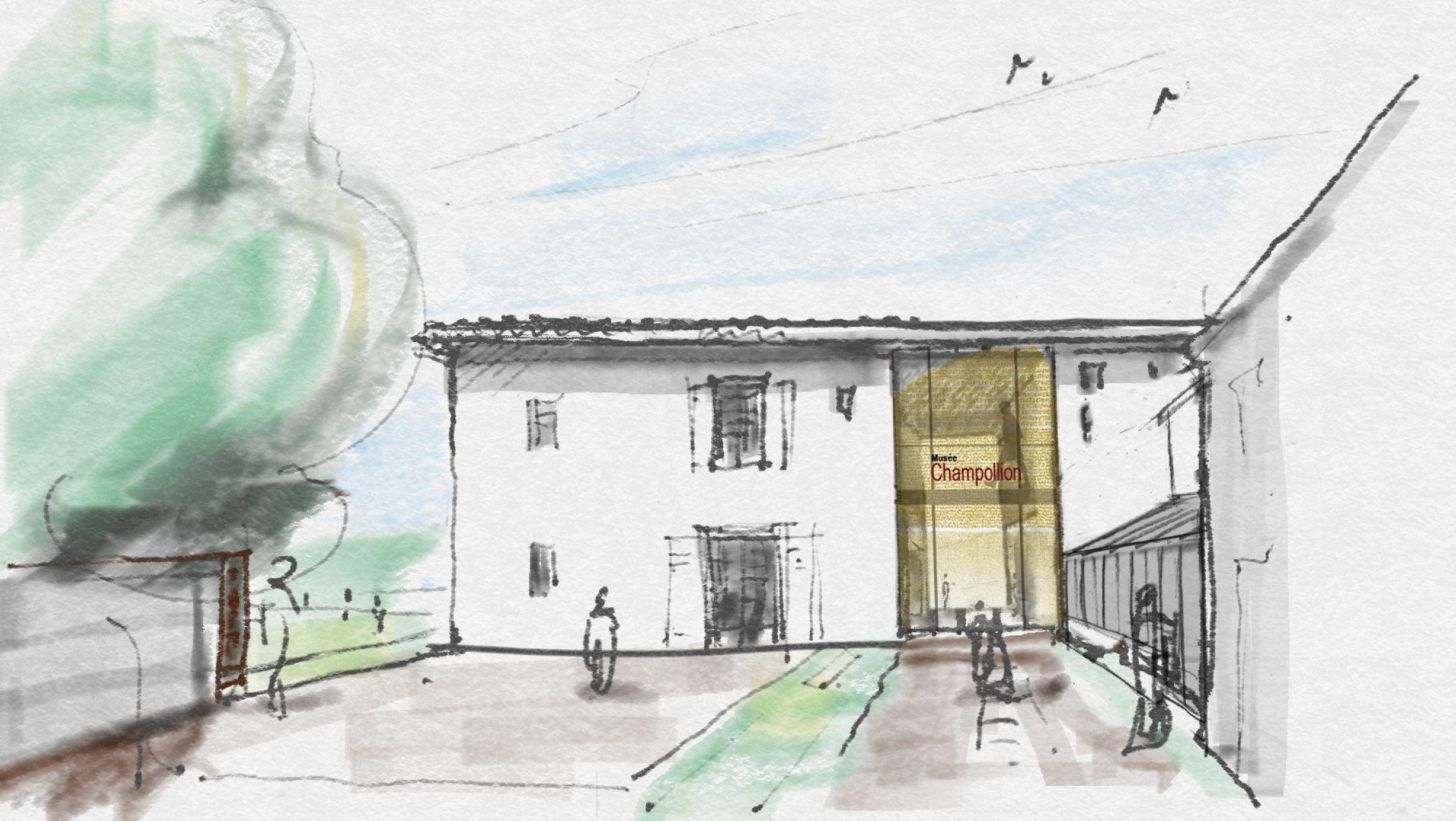 Croquis architecturaux Musée Champollion