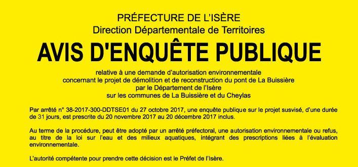 Le pont de La Buissière - Ouverture de l'enquête publique
