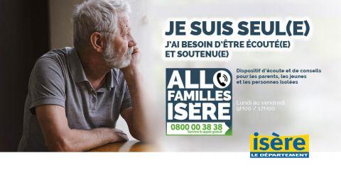 Allo Familles Isère affiche personne isolée