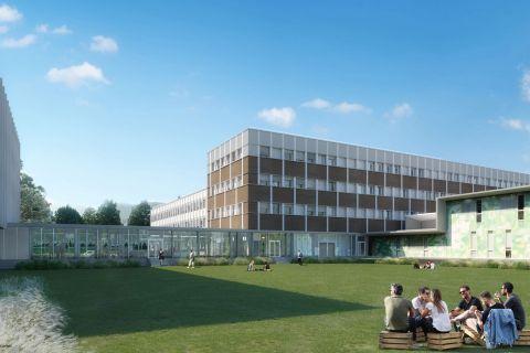 Vue d'une partie du projet de réhabilitation des bâtiments du site Bergès © Aktis Amplitude- Cuynat