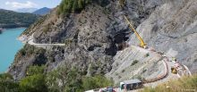 Travaux du tunnel du Chambon - Vue aérienne à l'amont du tunnel